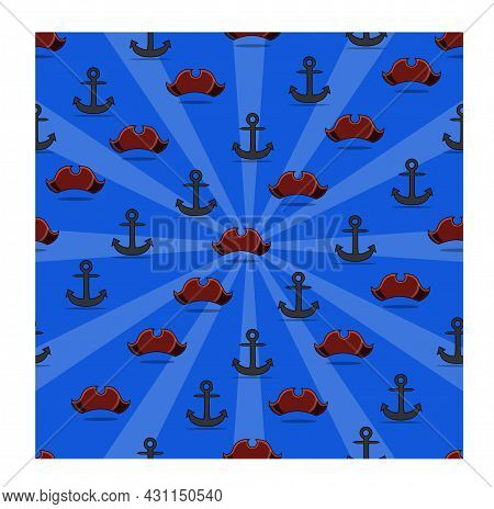 Happy Columbus Day America With Anchor And Hat, Pattern Background, Celebration Holiday Poster, Vect