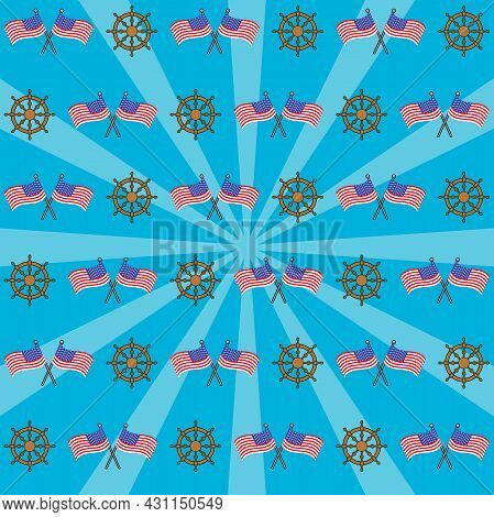 Happy Columbus Day America With Flags And Anchor, Celebration Holiday Poster, Vector And Illustratio