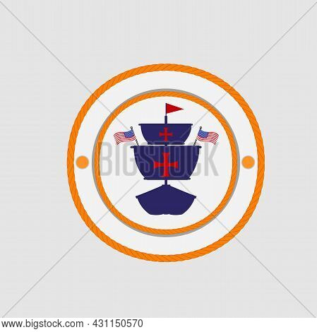 Happy Columbus Day America With Ship Design On Rope, Flags, Celebration Holiday Poster, Vector And I