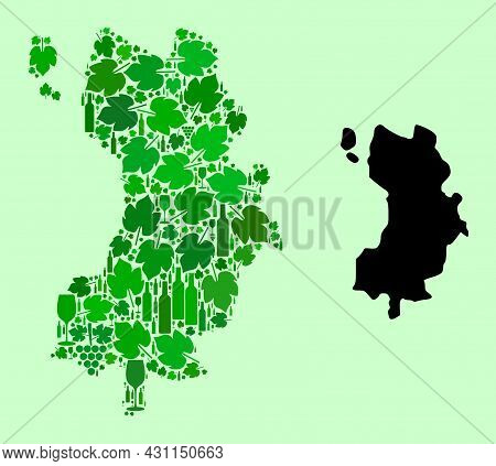 Vector Map Of Ko Tao. Mosaic Of Green Grape Leaves, Wine Bottles. Map Of Ko Tao Mosaic Designed From