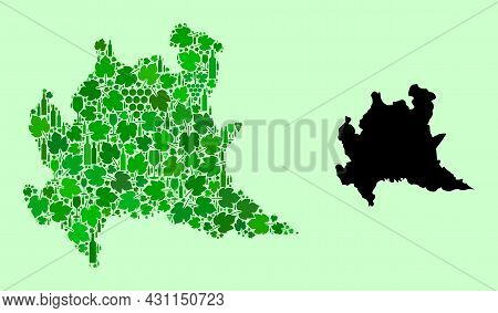 Vector Map Of Lombardy Region. Mosaic Of Green Grapes, Wine Bottles. Map Of Lombardy Region Mosaic D