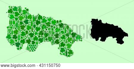 Vector Map Of La Rioja Spanish Province. Combination Of Green Grape Leaves, Wine Bottles. Map Of La