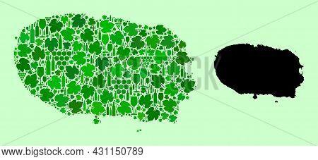 Vector Map Of Terceira Island. Mosaic Of Green Grapes, Wine Bottles. Map Of Terceira Island Mosaic D