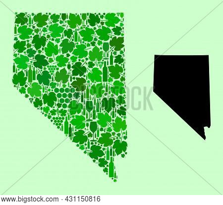 Vector Map Of Nevada State. Mosaic Of Green Grapes, Wine Bottles. Map Of Nevada State Collage Design