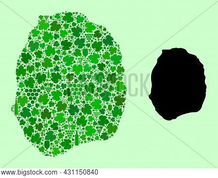 Vector Map Of Nevis Island. Mosaic Of Green Grape Leaves, Wine Bottles. Map Of Nevis Island Mosaic F