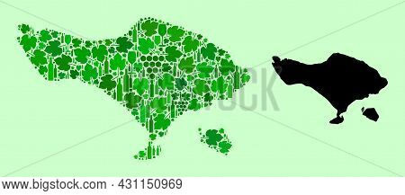 Vector Map Of Bali Island. Collage Of Green Grapes, Wine Bottles. Map Of Bali Island Collage Compose