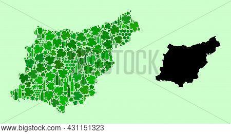Vector Map Of Gipuzkoa Province. Mosaic Of Green Grape Leaves, Wine Bottles. Map Of Gipuzkoa Provinc