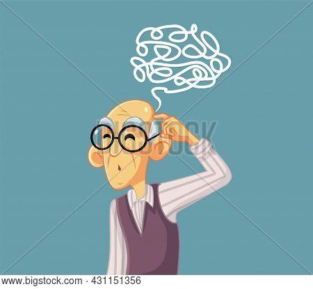Puzzled Senior Man Vector Character Illustration Character