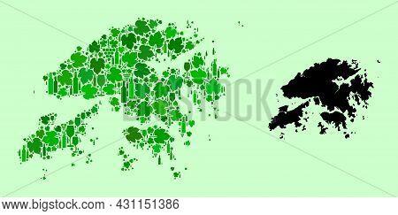 Vector Map Of Hong Kong. Combination Of Green Grape Leaves, Wine Bottles. Map Of Hong Kong Mosaic De