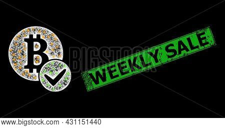 Bright Net Mesh Valid Bitcoin Framework With Bright Dots, And Green Rectangular Scratched Weekly Sal