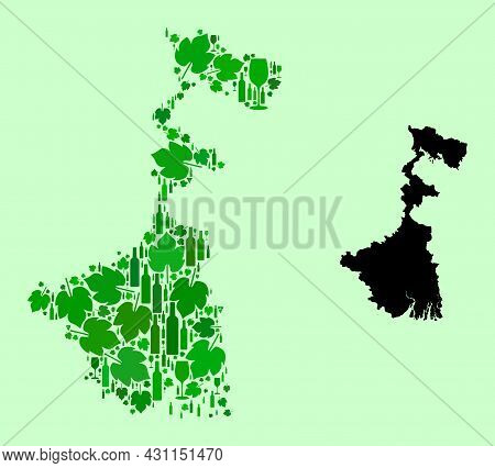 Vector Map Of West Bengal State. Collage Of Green Grape Leaves, Wine Bottles. Map Of West Bengal Sta