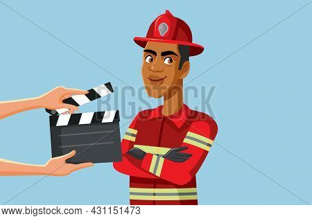 Production Team Filming A Firefighters Tv Show Vector Illustration