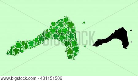 Vector Map Of Koh Lipe. Composition Of Green Grapes, Wine Bottles. Map Of Koh Lipe Collage Formed Wi
