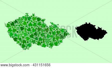 Vector Map Of Czech Republic. Mosaic Of Green Grape Leaves, Wine Bottles. Map Of Czech Republic Coll