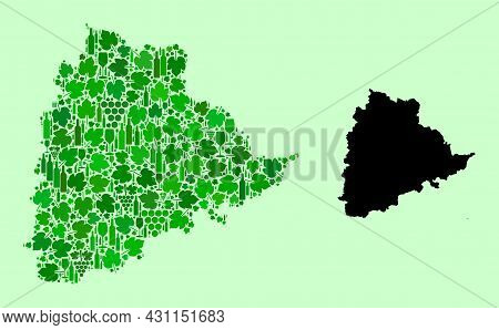 Vector Map Of Telangana State. Mosaic Of Green Grape Leaves, Wine Bottles. Map Of Telangana State Mo