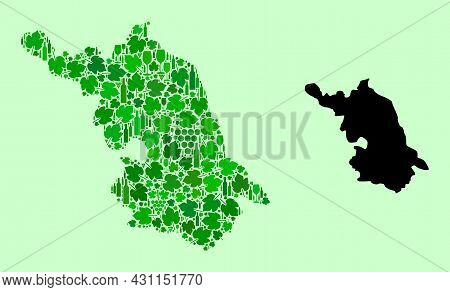 Vector Map Of Jiangsu Province. Collage Of Green Grapes, Wine Bottles. Map Of Jiangsu Province Mosai