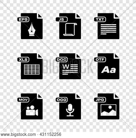 Set Eps File Document, Js, Txt, Mov, Ogg, Jpg, Xls And Doc Icon. Vector