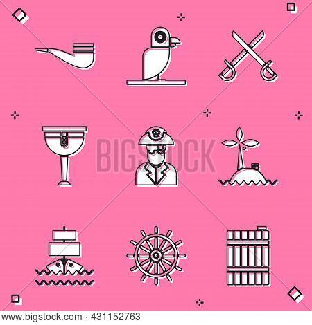 Set Smoking Pipe, Pirate Parrot, Crossed Pirate Swords, Wooden Leg, Captain, Tropical Island Ocean,