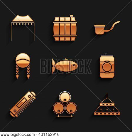 Set Fish, Wooden Barrels, Massive Steel Chandelier, Beer Can, Harmonica, Braid, Smoking Pipe And Cam