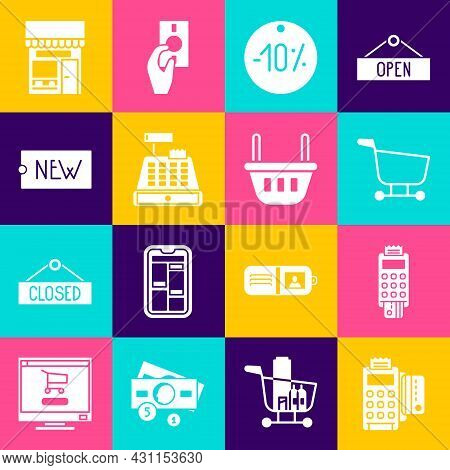Set Pos Terminal With Credit Card, Shopping Cart, Ten Discount Percent Tag, Cash Register Machine, P