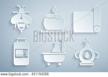 Set Bathtub, Fitness Mat Roll, Collagen Serum, Oil Bottle, Aroma Candle And Bee Icon. Vector