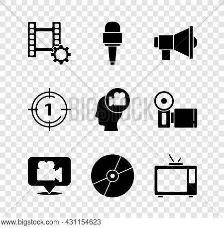 Set Play Video, Microphone, Megaphone, Camera And Location, Cd Or Dvd Disk, Retro Tv, Old Film Movie