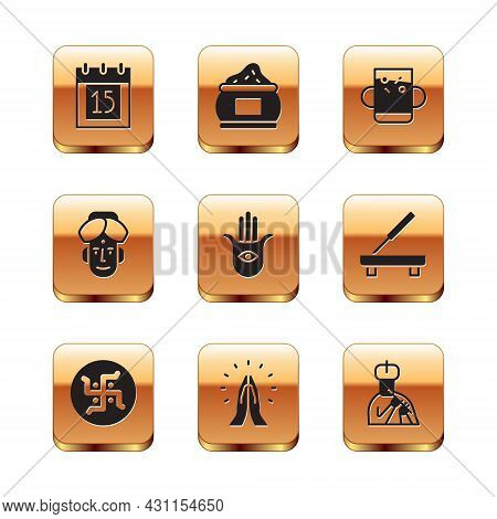 Set Independence Day India, Hindu Swastika, Hands Praying Position, Hamsa Hand, Indian Man, Cup Of T