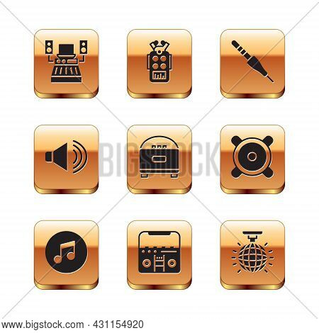 Set Music Recording Studio, Note, Tone, Home Stereo With Speakers, Stereo, Speaker Volume, Audio Jac