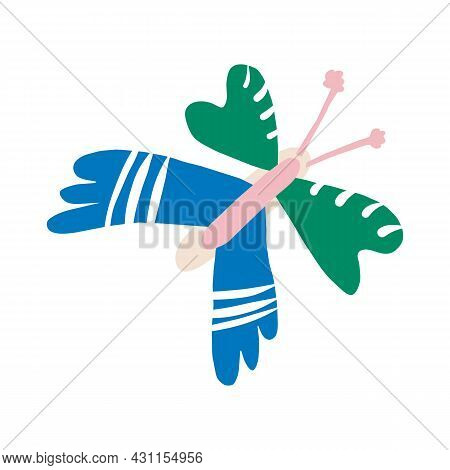 Whimsical Cute Doodle Butterfly Shape Motif. Modern Trendy Minimalist Style Icon Clip Art. Fun Unusu