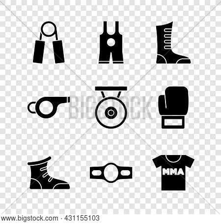 Set Sport Expander, Wrestling Singlet, Boxing Shoes, Boxing Belt, T-shirt With Fight Club Mma, Whist