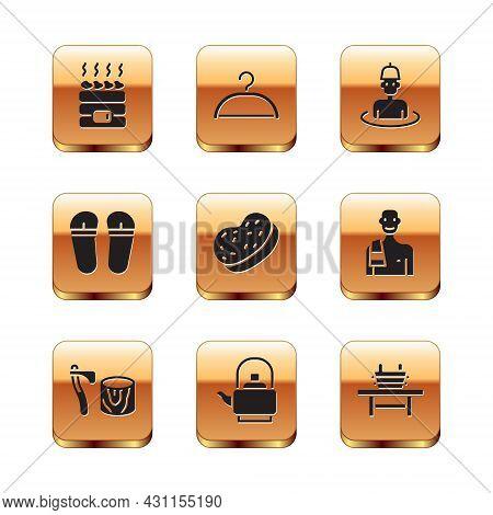 Set Hot Sauna Stones, Wooden Axe In Stump, Kettle With Handle, Bath Sponge, Flip Flops, Man The, Sau