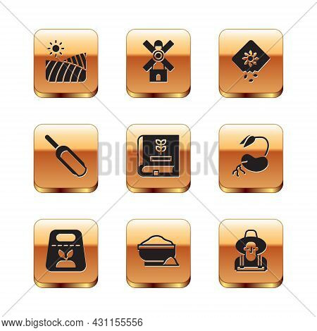 Set Agriculture Wheat Field, Pack Full Of Seeds Of Plant, Flour Bowl, Book About, Scoop Flour, Farme