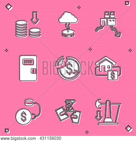 Set Dollar Rate Decrease, Storm, Shutdown Of Factory, Prison Cell Door, Hanging Sign With Sale, Debt