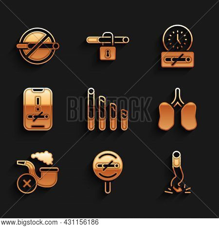 Set Smoking Cigarette, No Smoking, Cigarette Butt, Lungs, Pipe With Smoke, Time And Icon. Vector