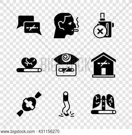 Set No Smoking, Man A Cigarette, Electronic, Candy, Cigarette Butt, Disease Lungs, Heart Disease Wit