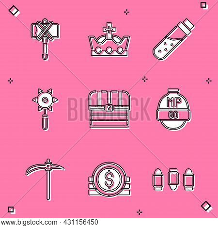 Set Medieval Axe, King Crown, Bottle With Potion, Chained Mace Ball, Chest, Video Game Bar, Pickaxe