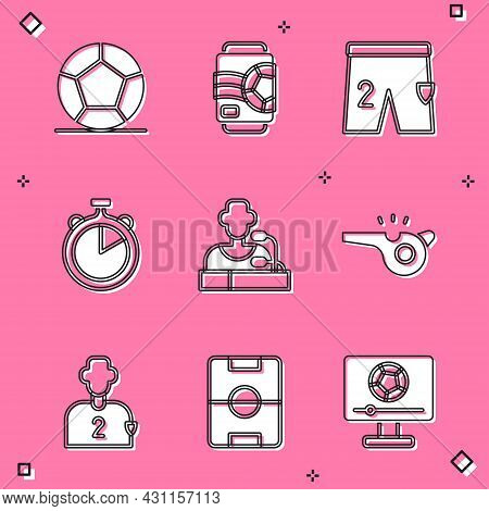 Set Soccer Football Ball, Beer Can, Shorts For Playing, Stopwatch, Football Player Press Conference,