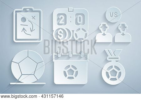 Set Football Or Soccer Calendar, Player, Soccer Football, Medal, Betting Money And Planning Strategy
