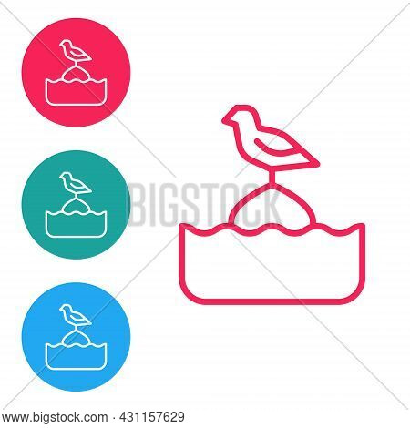 Red Line Seagull Sits On A Buoy In The Sea Icon Isolated On White Background. Set Icons In Circle Bu