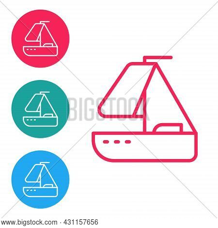 Red Line Yacht Sailboat Or Sailing Ship Icon Isolated On White Background. Sail Boat Marine Cruise T
