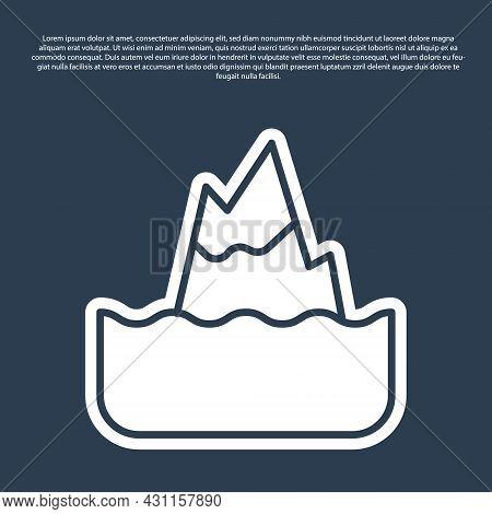 Blue Line Iceberg Icon Isolated On Blue Background. Vector