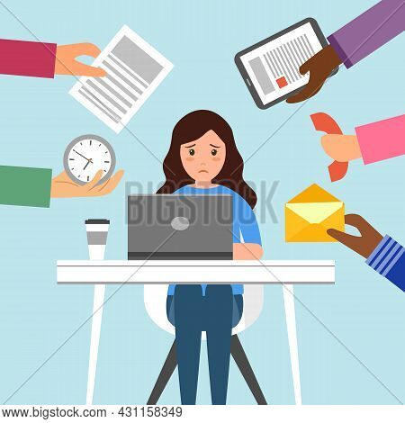 Businesswoman Work Hard And Busy At Office In Flat Design. Company Employee Working Overtime.