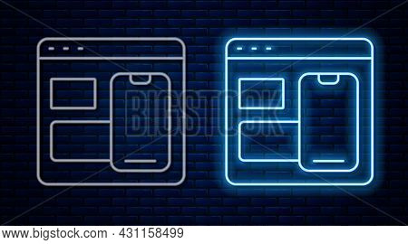 Glowing Neon Line Software, Web Developer Programming Code Icon Isolated On Brick Wall Background. J