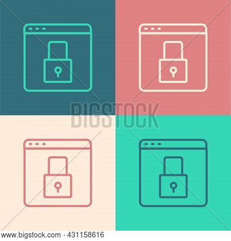 Pop Art Line Secure Your Site With Https, Ssl Icon Isolated On Color Background. Internet Communicat