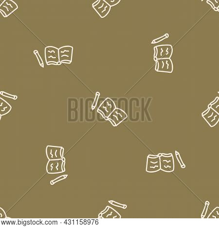 Seamless Background Writing Book Journal Gender Neutral Pattern. Whimsical Minimal Earthy 2 Tone Col