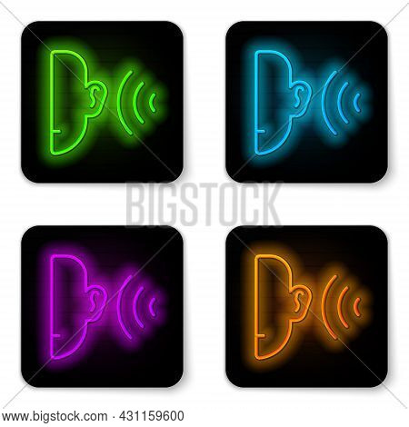 Glowing Neon Line Ear Listen Sound Signal Icon Isolated On White Background. Ear Hearing. Black Squa