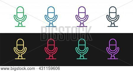 Set Line Microphone Voice Device Icon Isolated On Black And White Background. Microphone Interpreter