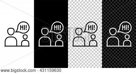 Set Line Two Sitting Men Talking Icon Isolated On Black And White, Transparent Background. Speech Bu
