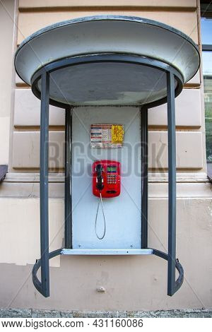 St. Petersburg, Russia - July 09, 2021: Telephone Booth On The Street In St. Petersburg