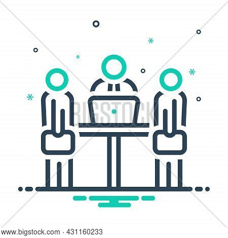 Mix Icon For Meeting People Interview Conference Manager Supervisor Employer